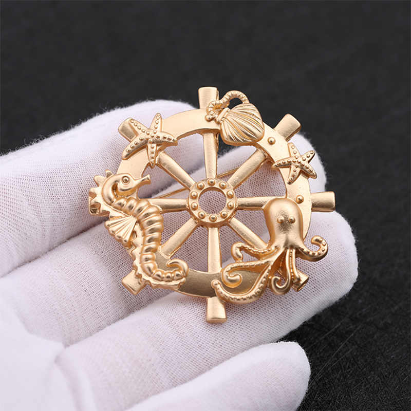 810fe28c0 ... JShine Gold Color Anchor Brooches for Women Seahorse Seastar Octopus  Brooch Woman Jewelry 2019 Charm Clothing ...