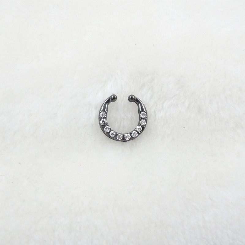 HTB1Dt8pPVXXXXcGXpXXq6xXFXXXA Trendy Women Black Alloy Clicker Septum Nose Ring Jewelry - 10 Styles