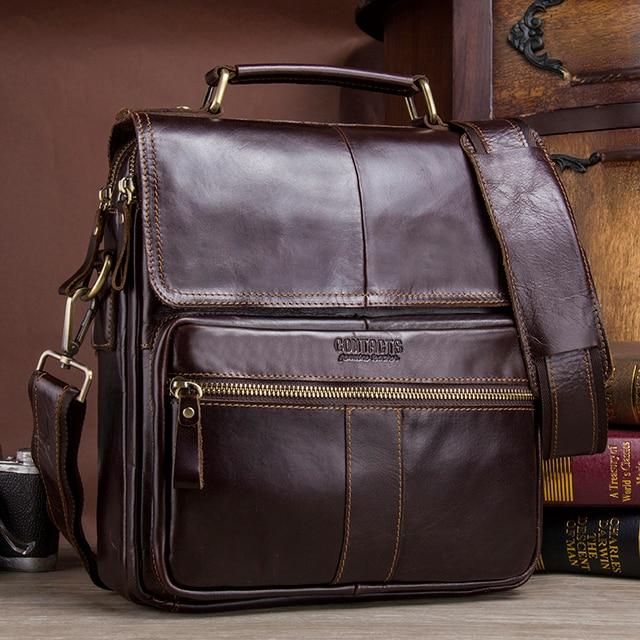 CONTACT'S Brand Design Genuine Leather Shoulder Bag Men Crossbody Messenger Bags Vintage Men's Handbag Bolsos Male For 9.7 5