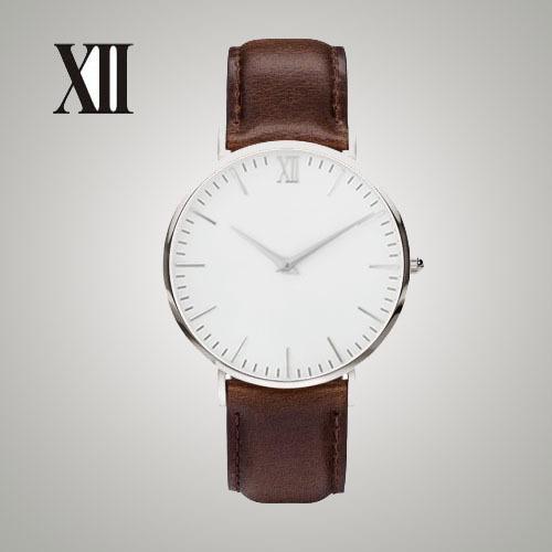 Correa marrón. Caso delgado Diseño Relojes De Marca Sin Nombre. Cuarzo de japón Máquina
