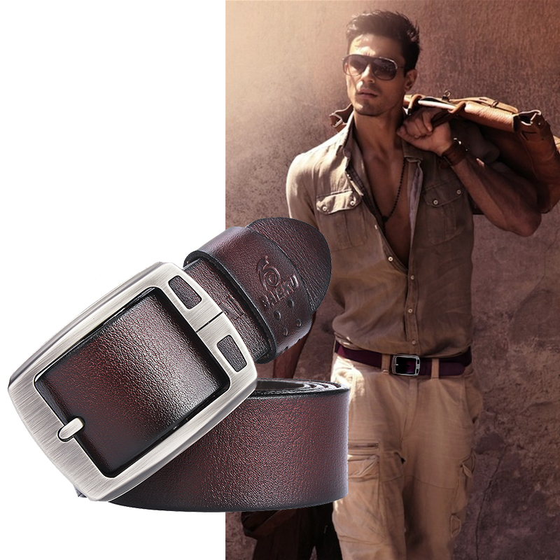Image 3 - genuine cowhide leather belts for men brand Strap male pin buckle fancy vintage jeans cintos  BAIEKU 2018 NEW-in Men's Belts from Apparel Accessories on AliExpress