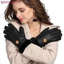 Brand New Winter Women Warm Gloves Ladies Genuine Sheepskin Leather Fur Womens Manual Wool Mittens Heavy Guantes