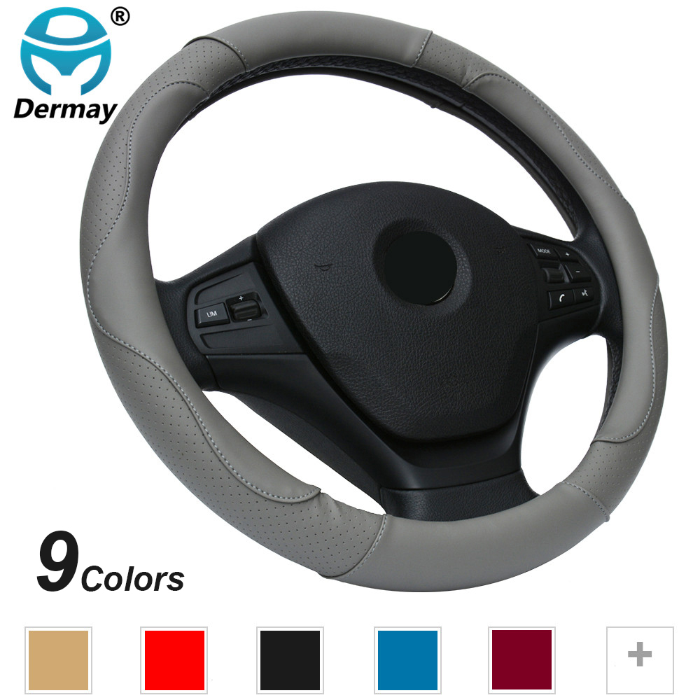 DERMAY NEW Leather Car Steering Wheel Cover M size for BMW Audi Ford Kia font b