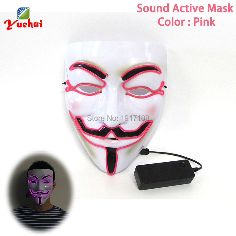 Wholesale 100 pcs 10 Color Available EL wire Mask Fashion Halloween Mask LED Gift By 3V Sound Activated For glowing party mask