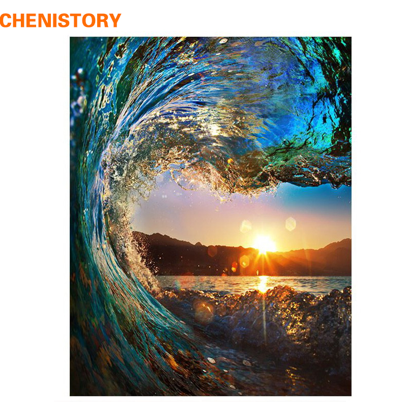 CHENISTORY Wave Sunset DIY Painting By Numbers Kit Landscape HandPainted Oil Painting Unique Gift For Home Decor 40x50cm Artwork