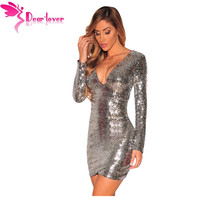Dear Lover Long Sleeve Gold Sequin Dress Vestido Lentejuelas Femininos Sexy V Neck Women Party Dresses