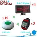 Comunicación inalámbrica dispositivos camarero del zumbador de llamada para pizza shop ( 1 monitor de 3 reloj de pulsera 15 botón de la tabla )