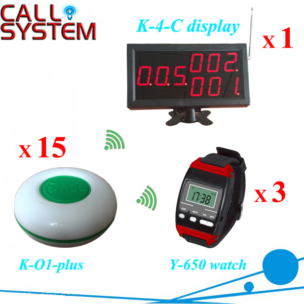 Wireless communication devices Waiter buzzer call for pizza shop (1 monitor 3 wrist watch 15 table button)