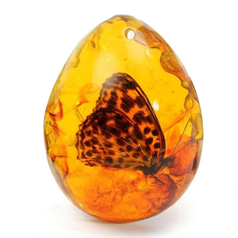 KiWarm 5*4 cm piękny Amber Butterfly owady kamień naszyjnik kamień do DIY biżuteria wisiorek żywica rzemiosło prezent