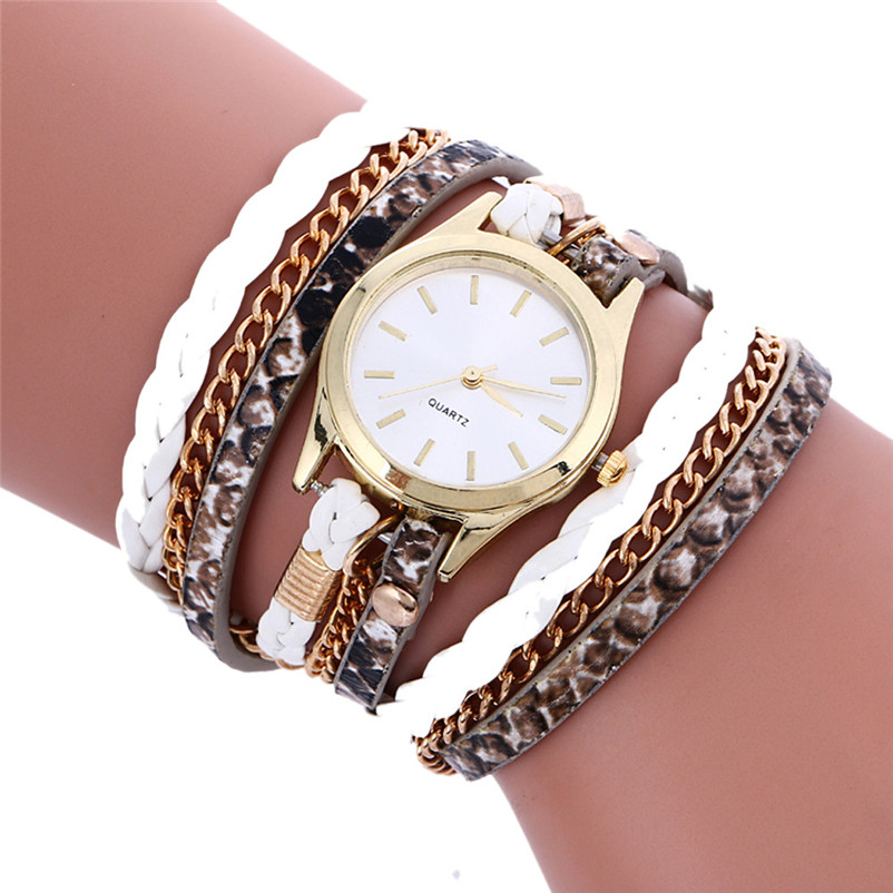 Women Watches Reloj Mujer Fashion Weave Leather Bracelet Quartz Wristwatches High Quality Movement Lady Watch