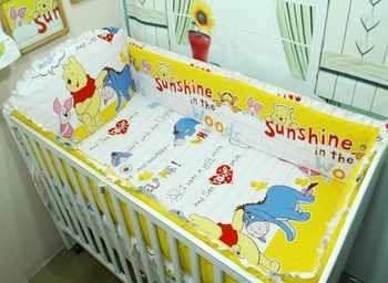 Promotion! 6PCS crib bedding set, Bed Linen baby cot bedding set, kids bed set,include (bumpers+sheet+pillow cover)