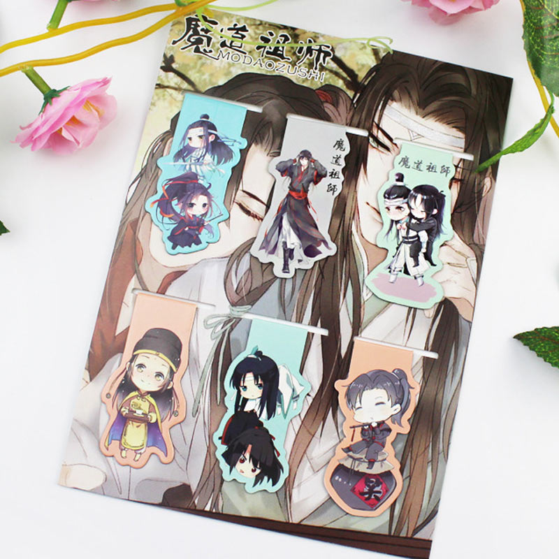 6pcs Mo Dao Zu Shi Anime Magnetic Bookmark Cartoon Magnet Bookmark Child Student Kawaii Gift Bookmarks Office Stationery(China)