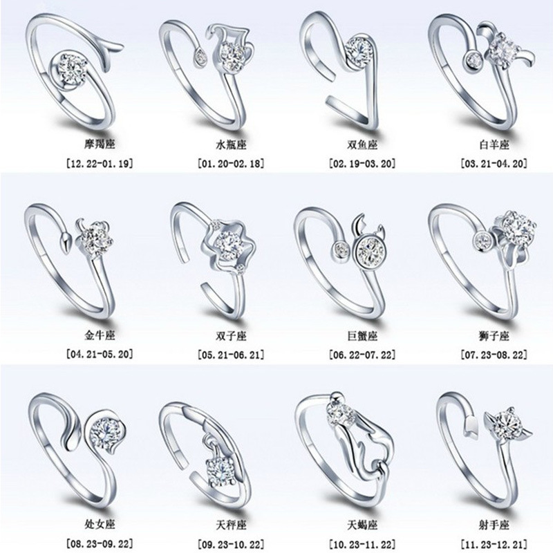 Adjustable Rings Gemini Aries Libra Taurus Cancer Sagittarius Virgo Capricornus Open title=