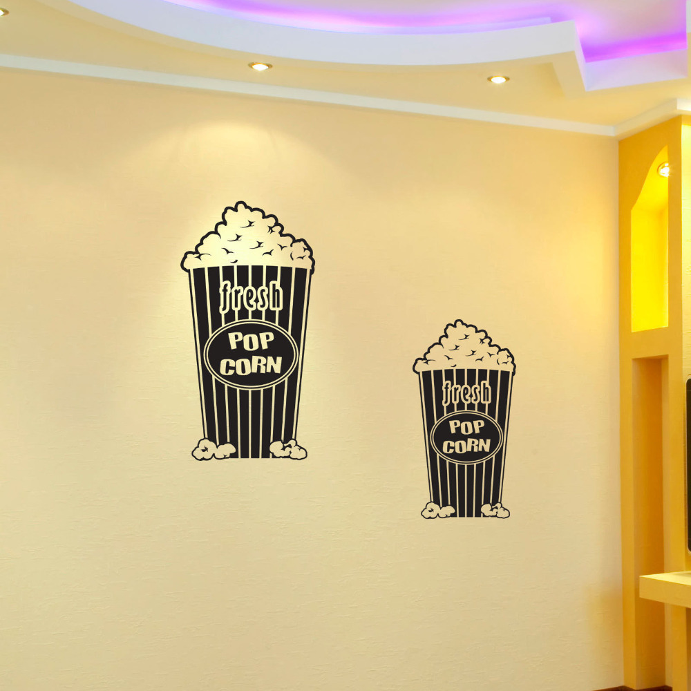POPCORN Decal Removable WALL STICKER Decor Art Home Theater Movie ...