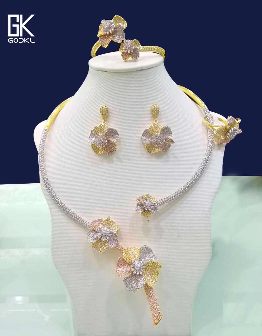 GODKI ดอกไม้หรูหราชุดเครื่องประดับสำหรับงานแต่งงาน Zircon CZ แอฟริกัน Gold สร้อยคอต่างหูชุดดูไบเครื่องประดับชุดเจ้าสาว