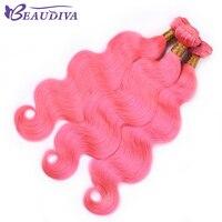 BEAU DIVA 3 Связки перуанский объемной волны волос Связки розовый цвет человеческих волос переплетения утка 10 дюймов до 26 дюймов бесплатная дос...