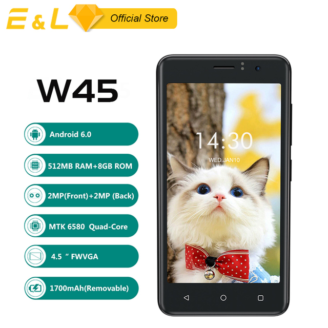 EL W45 4.5 inch Android 6.0 3G Cheap WCDMA Unlocked Mobile Phone 8GB ROM Original Cell Phone Dual SIM Quad Core Touch Smartphone
