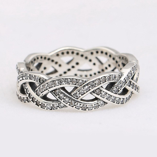 Sterling Silver  Twist Of Fate Stackable Pave Clear Ring