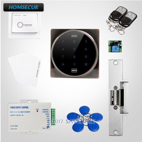 HOMSECUR Touch Keypad ID Access Control System With Zinc Alloy Case & Organic Glass Panel plug and play 8ch wireless nvr h 264 video surveillance kit 720p hd outdoor vandal proof ir dome wifi cctv camera system 2tb hdd