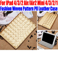 50pcs/Lot For IPad Air/Air2 For iPad mini 4/3/2/1 Woven pattern Stand PU Leather  Smart Case Cover for iPad 4/3/2 IM411