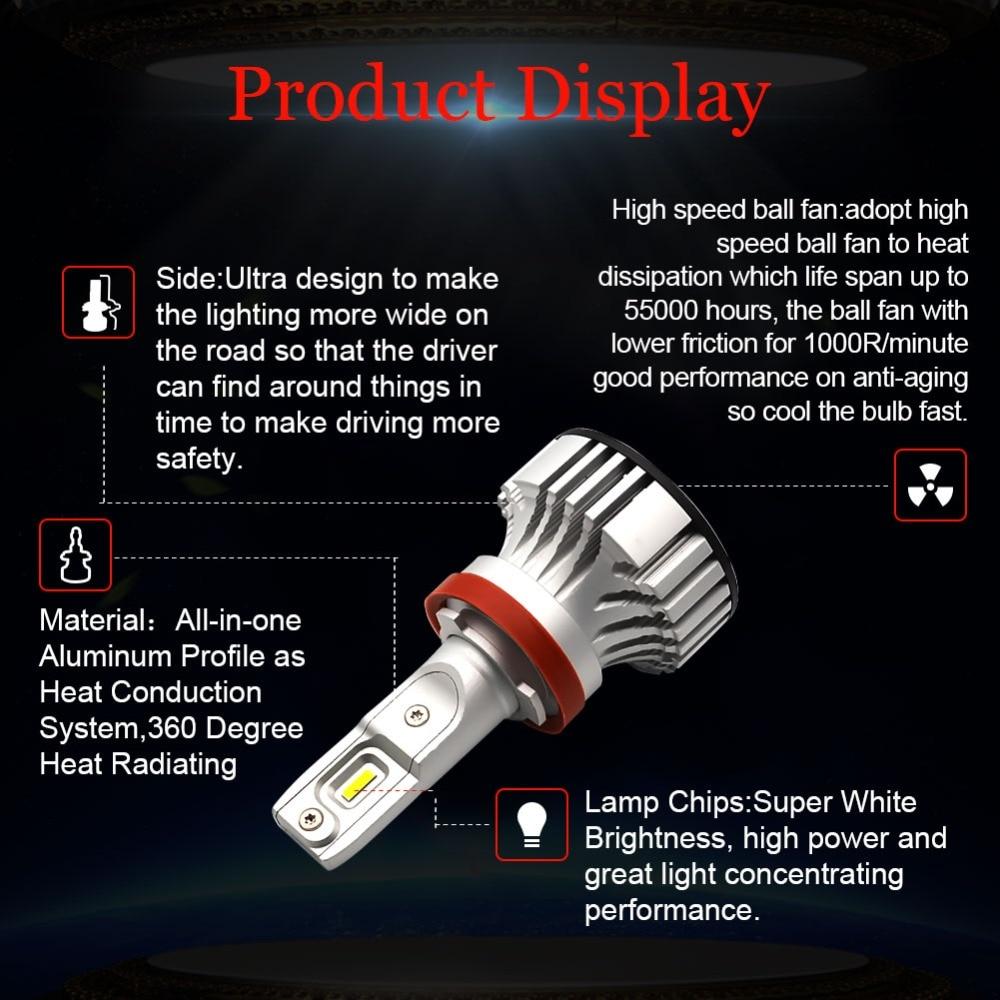 Safego 36 W H8 H9 H11 H4 Hi/Lo H7 Kit de phare LED de voiture ampoules 9005 9006 4 LED très brillante puces Auto ampoule blanc 6000 K - 3