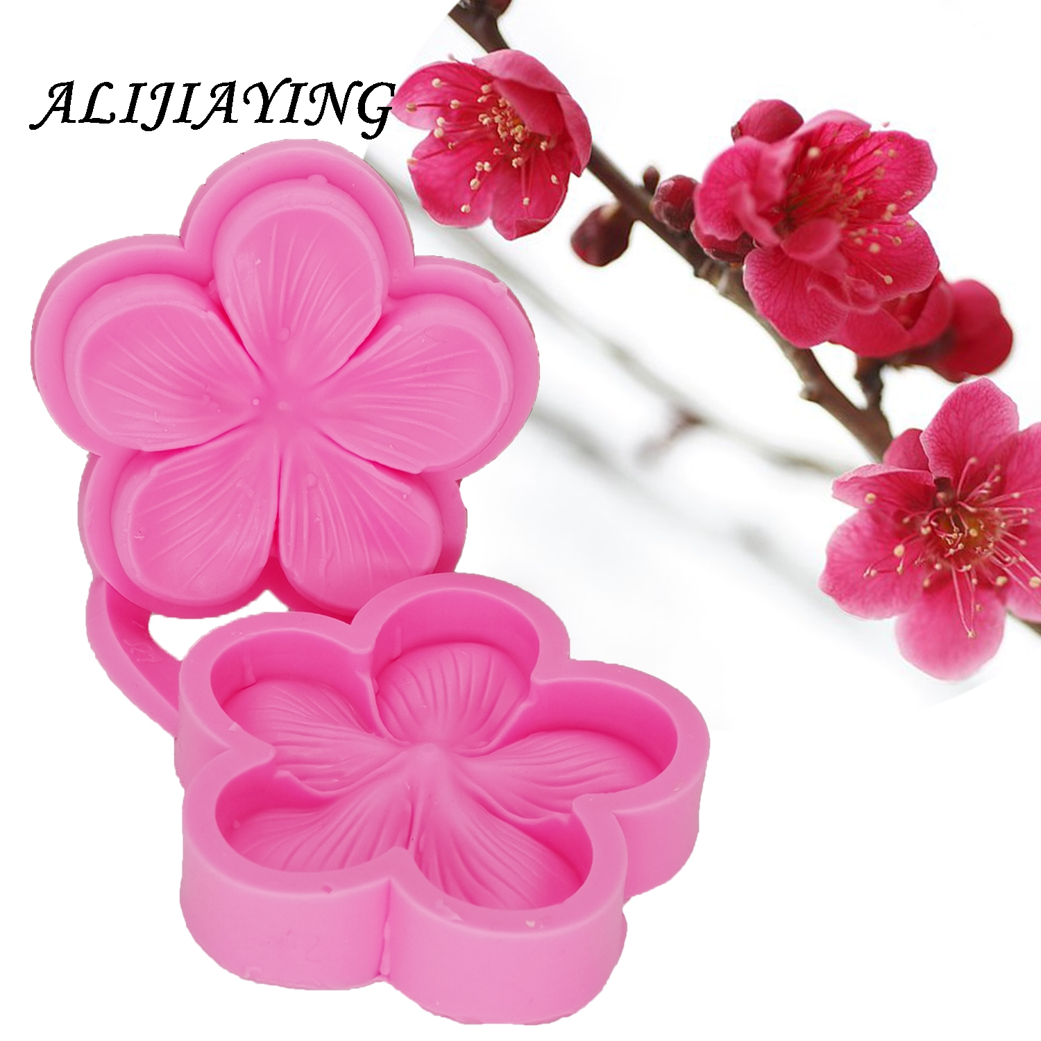 Plum Blossom Sugarcraft Silicone Mold Flower Fondant Mould Wedding Cake Decorating Tools Chocolate Mold D1302(China)