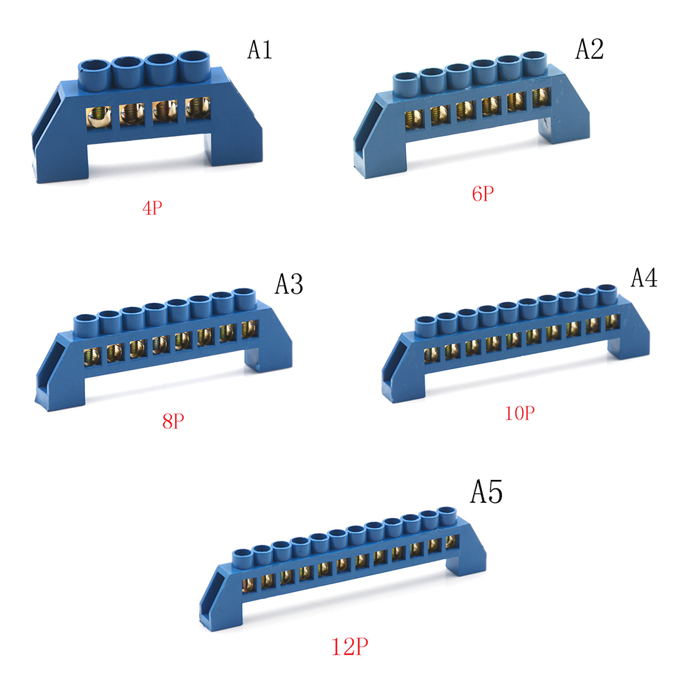 4/6/8/10/12 Positions Terminal Block Connector Strip Brass Ground Neutral Bar Electrical Distribution Wire Screw Terminal