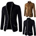 Otoño e invierno ocio de los hombres de cuello de la túnica de lana pequeñas chaquetas