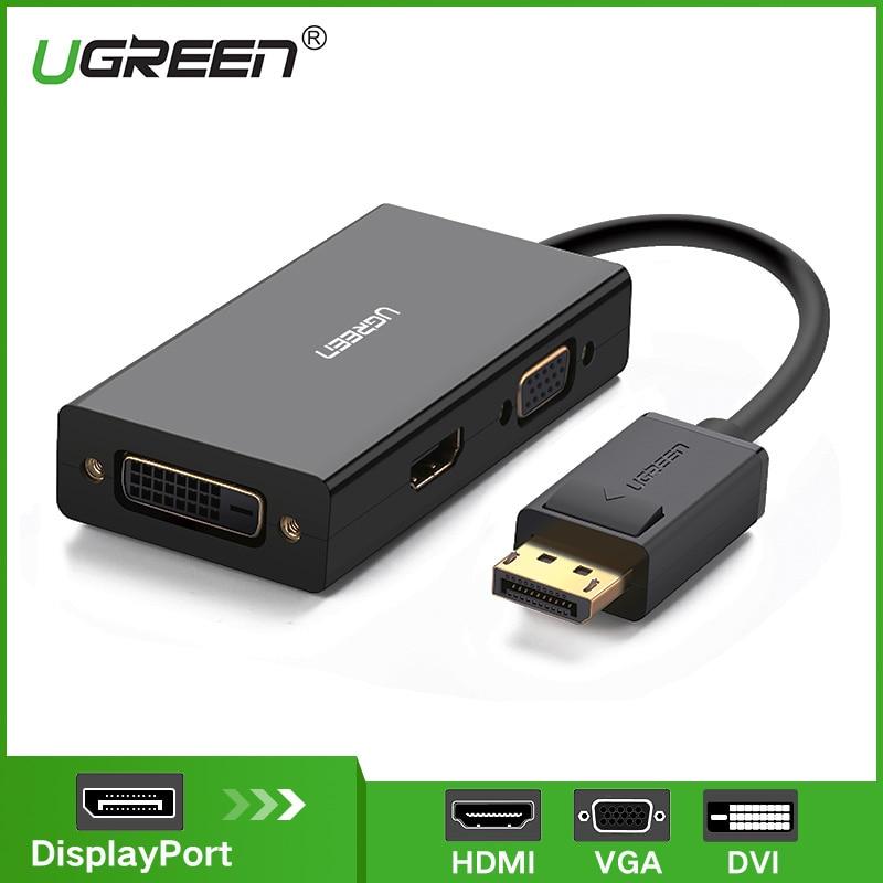 Ugreen 3 in 1 Displayport DP ZUM HDMI VGA DVI Adapter 4 karat Männlichen zu Weiblichen Display Port Kabel Konverter für HP PC Laptop Projektor