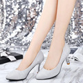 2017 Spring Summer Women High-heeled shoes Printed toe Korean style Fashion Frosted Work shoes Gold Silver and Black colors