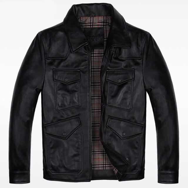 2017 Men Black Genuine Leather Jacket Real Sheepskin Slim Fit Men Winter Casual Coat Factory Direct Plus Size XXXL FREE SHIPPING
