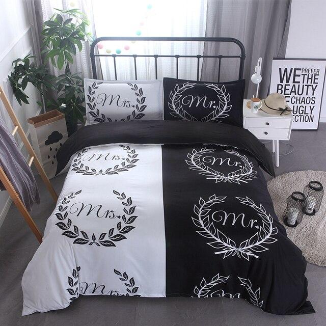 2017 vente chaude noir blanc ensemble de literie et linge de lit queen size m