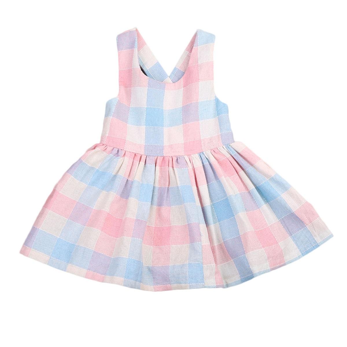 Cute Plaid Dress Toddler Baby Girls Cotton Kids Summer