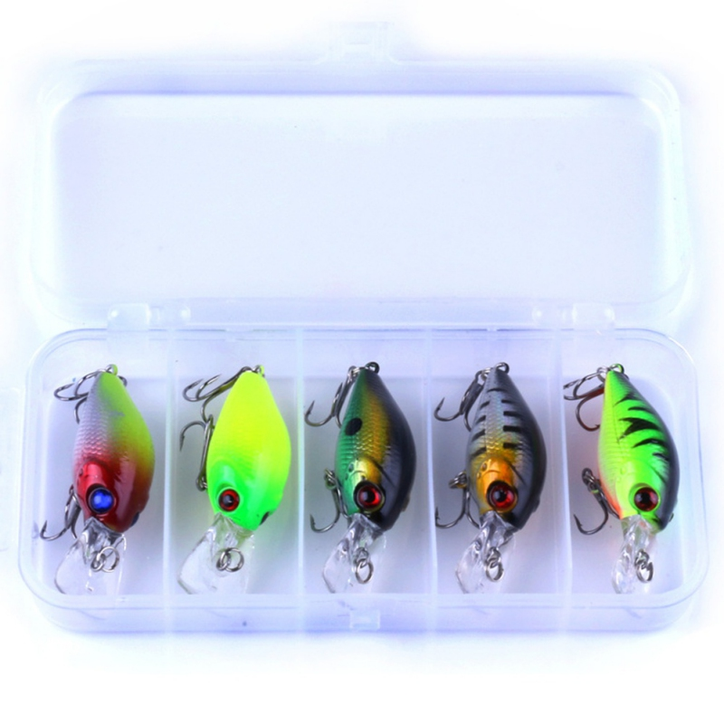 5Pcs Fishing Lure Kit Minnow/Popper Spinner Pesca Lure Isca Crankbait Baits Jia Head Fishing Hooks Set With Fishing Tackle Box A 9pcs lot fishing lure hard bait minnow lure fishing bass crankbait swimbait trout baits with 2 hooks fishing tackle 4 5cm piece