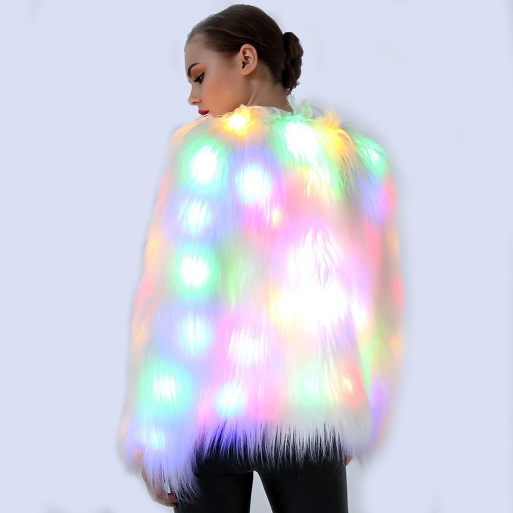 2XL Women Faux Fur LED Light Coat Christmas Costumes Cosplay Jacket Festival Winter Warm Party Club Hip Pop Outwear Nightclub