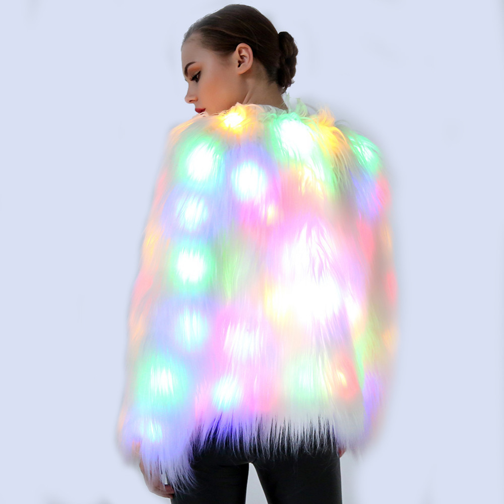 2XL Women Faux Fur LED Light Coat Christmas Costumes Cosplay Jacket Festival Winter Warm Party Club Hip Pop Outwear Nightclub