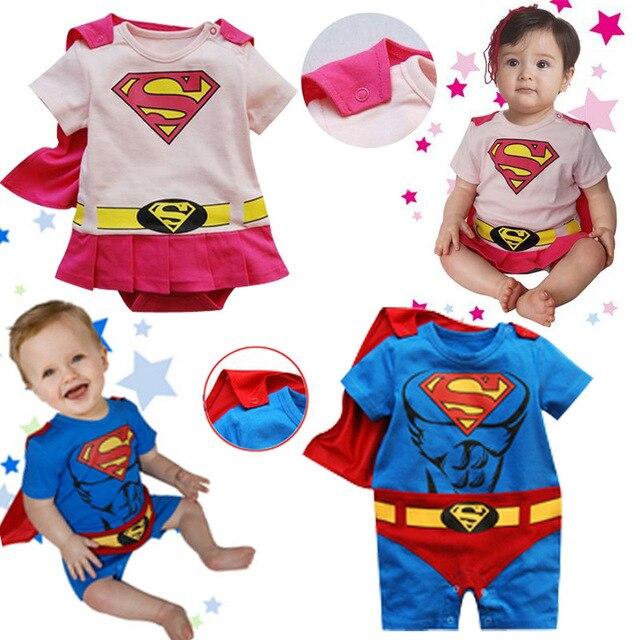 Детские Мультяшном Стиле Косплей Супермен Ползунки Малышей Синий Розовый Манто Комбинезон Ребенок О-Образным Вырезом Костюмы Хлопка Младенца Одежды