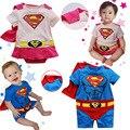 Bebé Estilo de Dibujos Animados Cosplay Superman Mameluco Niños Niño Azul Rosa Manteau Mono Niño O-cuello de la Ropa Trajes de Bebé de Algodón