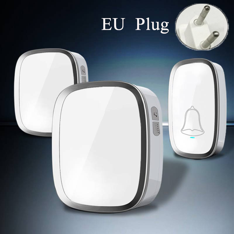 2017 New White EU/US Home DoorBells Wireless Door Bell Waterproof Smart 36 Melody Doorbell With 2 Indoor Bell Receivers new high quality wireless waterproof door bell 36 music melody 300m doorbell 3 transmitters 3 receiver home doorbells