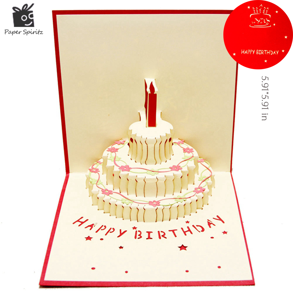 Birthday Cake 3d Paper Laser Cut Pop Up Handmade Post Cards Gift