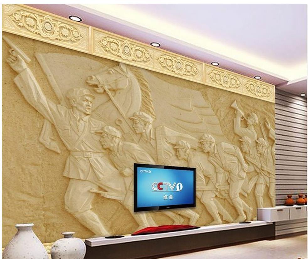 3d wallpaper for room Sandstone back wall art relief mural room ...