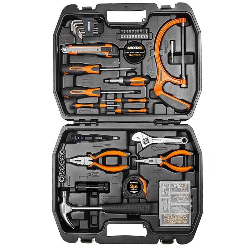 128 outil à main ensemble général ménage outil à main ensemble assemblage boîte à outils en plastique boîte de rangement clé à douille tournevis