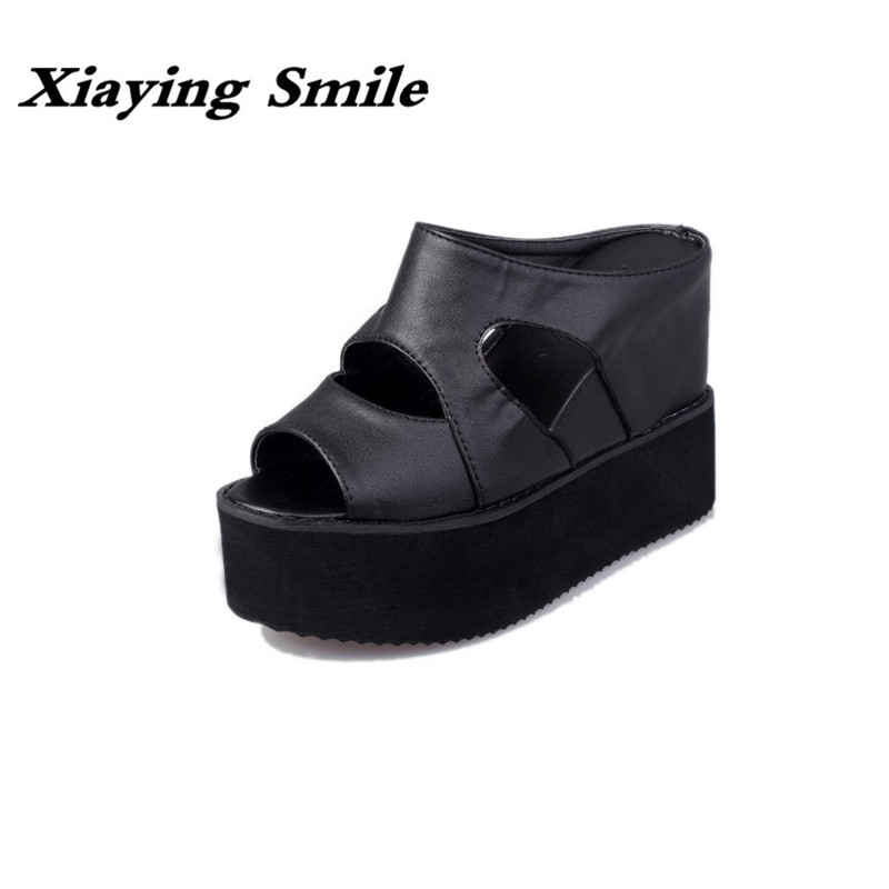 Xiaying Smile New Summer Style Women Wedges Slippers Sandals Fashion Casual Shallow Slides Outside Creeper Rubber Flatform Shoes xiaying smile woman sandals shoes women pumps summer casual platform wedges heels buckle strap flock hollow rubber women shoes