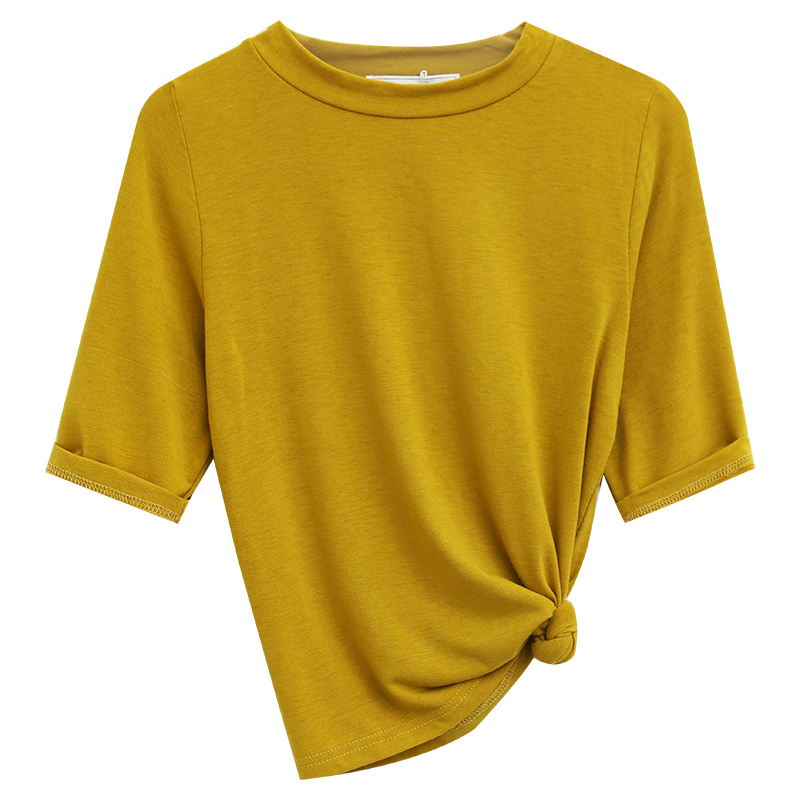 5G Korean version of the simple solid color was thin wild round neck five point sleeve