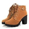 Cargadores de las mujeres 2016 Otoño Invierno Más El Terciopelo Grueso Tacones Botas Cortas Martin Botín Caliente Feminina Mujeres OL Zapatos Casuales