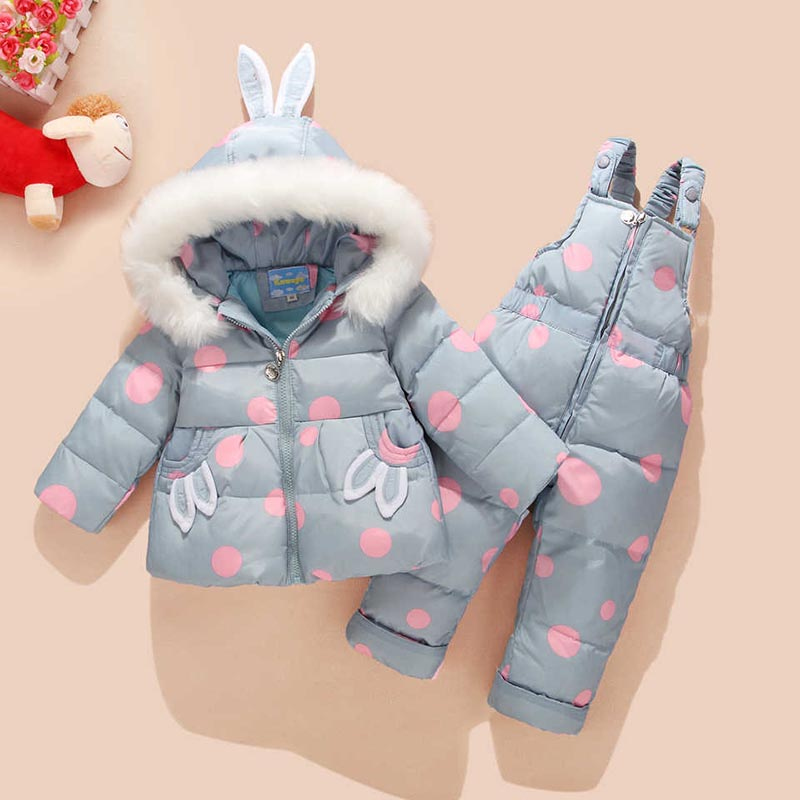 Russian Winter Suit for Children Baby Girl Duck Down Jacket and Pants 2pcs Warm Clothing Set