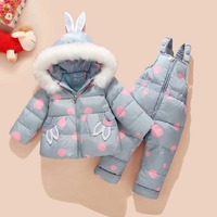 Rus Kış Takım Elbise Çocuklar için Bebek Kız Ördek Aşağı Ceket ve Pantolon 2 adet Sıcak Giyim Seti Termal Çocuk Giysileri kar Giyim