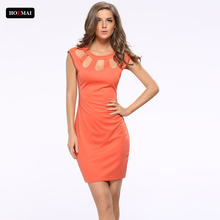 Sexy Hollow Out Bodycon Woman Midi Dress Summer Sleeveless Zipper Orange Office Dress Large Size Women's Casual Clothing vestido
