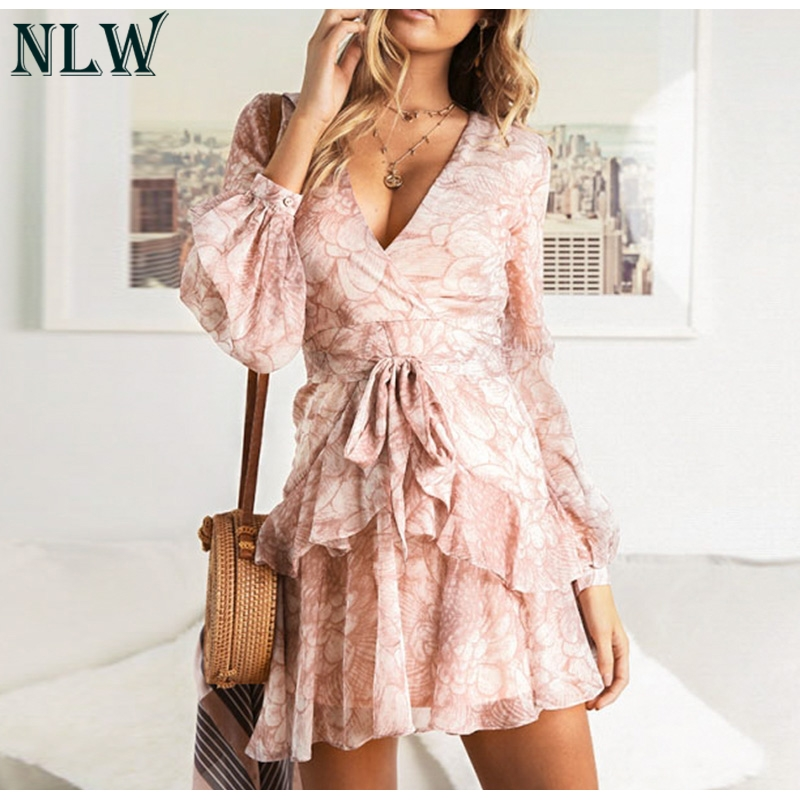 NLW 19 Long Sleeve Chiffon Women Dress Feminino Party Ruffle Dress Elegant Casual Vintage Autumn Winter Pink Dresses Vestidos 4