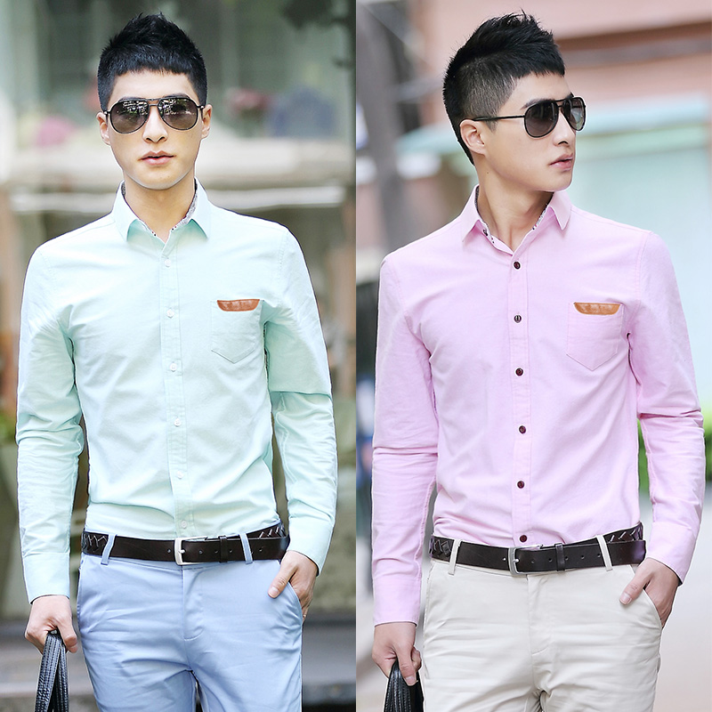 Autumn long sleeve shirt slim male Oxford silk cloth casual shirt ...